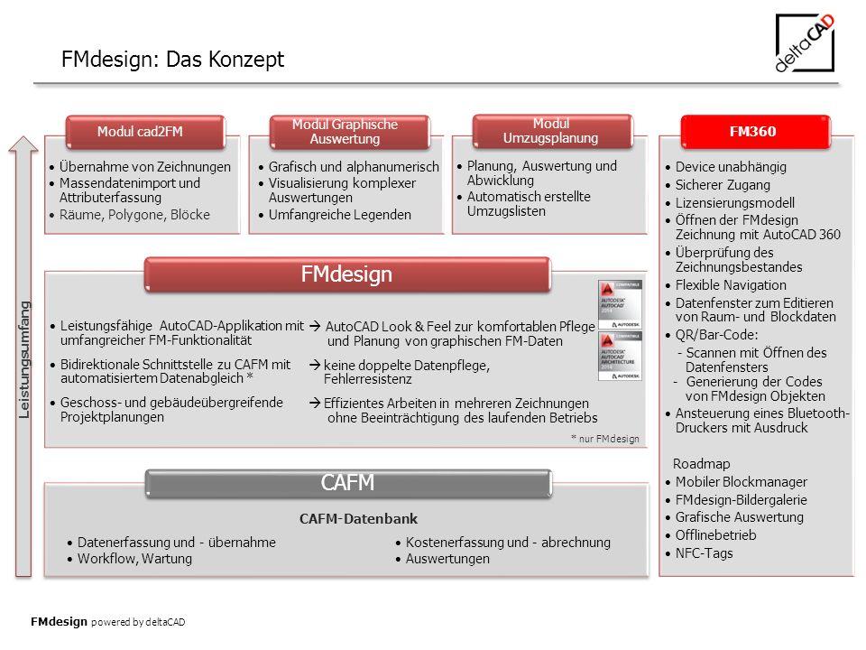 FMdesign: Das Konzept CAFM Modul cad2FM Modul Graphische Auswertung Modul Umzugsplanung Datenerfassung und - übernahme Workflow, Wartung Kostenerfassung und - abrechnung Auswertungen Übernahme von Zeichnungen Massendatenimport und Attributerfassung Räume, Polygone, Blöcke Grafisch und alphanumerisch Visualisierung komplexer Auswertungen Umfangreiche Legenden Planung, Auswertung und Abwicklung Automatisch erstellte Umzugslisten Leistungsumfang FMdesign Leistungsfähige AutoCAD-Applikation mit umfangreicher FM-Funktionalität Bidirektionale Schnittstelle zu CAFM mit automatisiertem Datenabgleich * Geschoss- und gebäudeübergreifende Projektplanungen CAFM-Datenbank * nur FMdesign FMdesign powered by deltaCAD  AutoCAD Look & Feel zur komfortablen Pflege und Planung von graphischen FM-Daten  keine doppelte Datenpflege, Fehlerresistenz  Effizientes Arbeiten in mehreren Zeichnungen ohne Beeinträchtigung des laufenden Betriebs FM360 Device unabhängig Sicherer Zugang Lizensierungsmodell Öffnen der FMdesign Zeichnung mit AutoCAD 360 Überprüfung des Zeichnungsbestandes Flexible Navigation Datenfenster zum Editieren von Raum- und Blockdaten QR/Bar-Code: - Scannen mit Öffnen des Datenfensters - Generierung der Codes von FMdesign Objekten Ansteuerung eines Bluetooth- Druckers mit Ausdruck Roadmap Mobiler Blockmanager FMdesign-Bildergalerie Grafische Auswertung Offlinebetrieb NFC-Tags