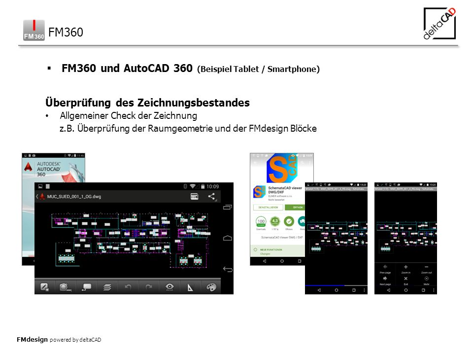 FMdesign powered by deltaCAD Überprüfung des Zeichnungsbestandes Allgemeiner Check der Zeichnung z.B.