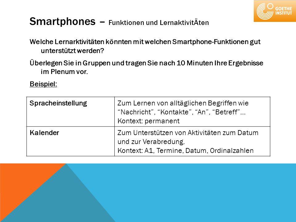 Smartphones – Funktionen und LernaktivitÄten Welche Lernarktivitäten könnten mit welchen Smartphone-Funktionen gut unterstützt werden? Überlegen Sie i