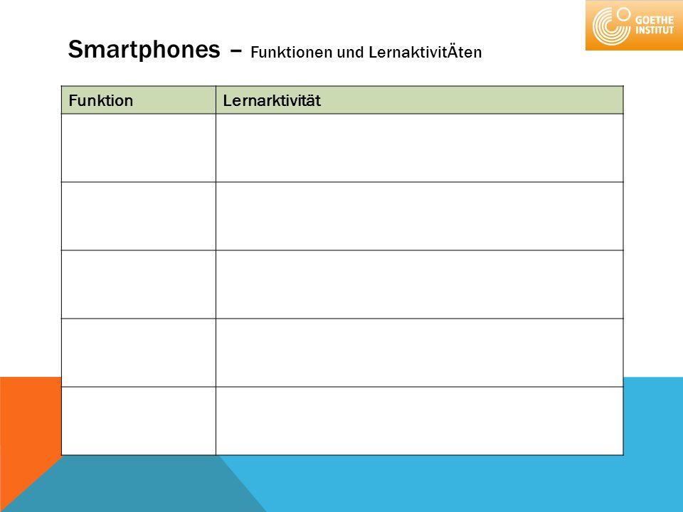 Smartphones – Funktionen und LernaktivitÄten FunktionLernarktivität