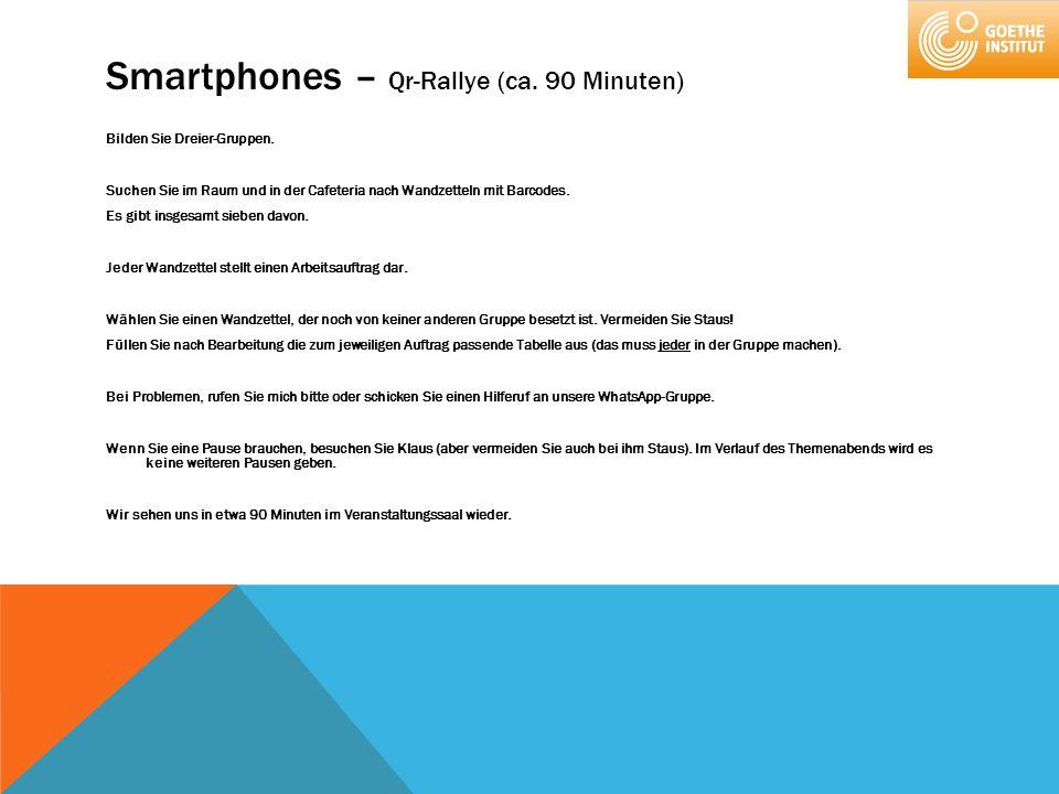 Smartphones – Qr-Rallye (ca. 90 Minuten) Bilden Sie Dreier-Gruppen. Suchen Sie im Raum und in der Cafeteria nach Wandzetteln mit Barcodes. Es gibt ins
