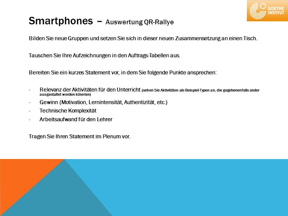 Smartphones – Auswertung QR-Rallye Bilden Sie neue Gruppen und setzen Sie sich in dieser neuen Zusammensetzung an einen Tisch. Tauschen Sie Ihre Aufze