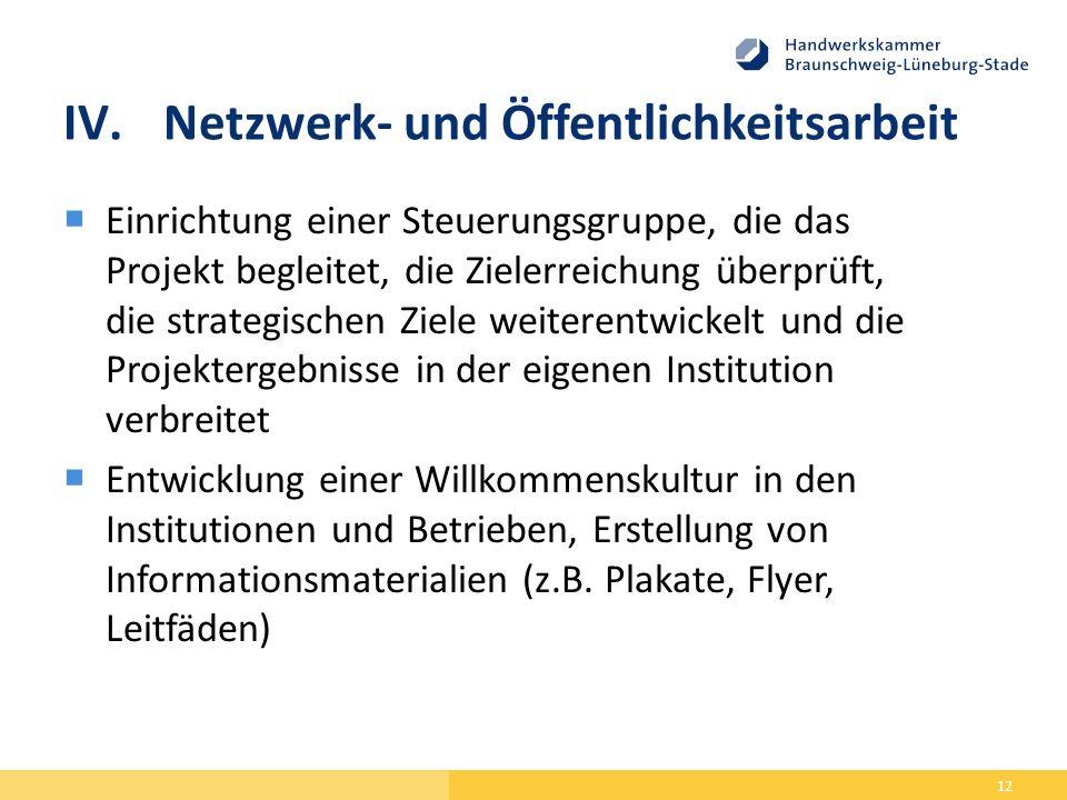 IV.Netzwerk- und Öffentlichkeitsarbeit  Einrichtung einer Steuerungsgruppe, die das Projekt begleitet, die Zielerreichung überprüft, die strategischen Ziele weiterentwickelt und die Projektergebnisse in der eigenen Institution verbreitet  Entwicklung einer Willkommenskultur in den Institutionen und Betrieben, Erstellung von Informationsmaterialien (z.B.