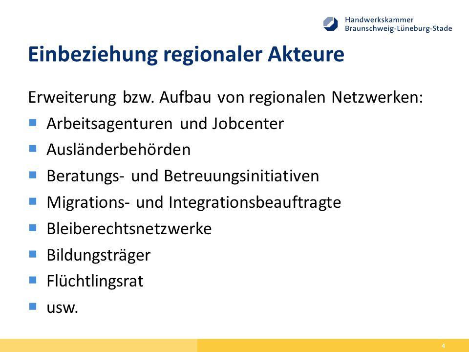 Einbeziehung regionaler Akteure Erweiterung bzw. Aufbau von regionalen Netzwerken:  Arbeitsagenturen und Jobcenter  Ausländerbehörden  Beratungs- u