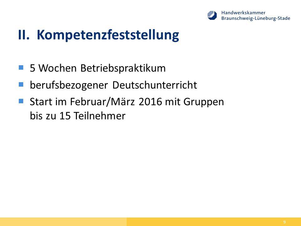 II.Kompetenzfeststellung  5 Wochen Betriebspraktikum  berufsbezogener Deutschunterricht  Start im Februar/März 2016 mit Gruppen bis zu 15 Teilnehmer 9