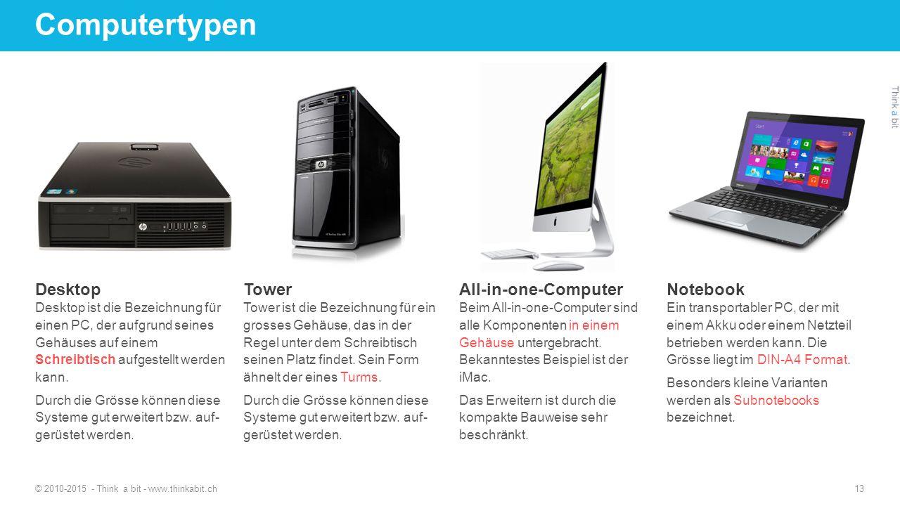 Computertypen © 2010-2015 - Think a bit - www.thinkabit.ch 13 Desktop Desktop ist die Bezeichnung für einen PC, der aufgrund seines Gehäuses auf einem Schreibtisch aufgestellt werden kann.