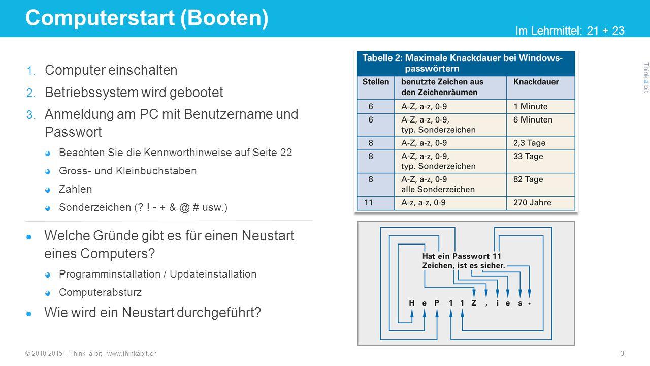Software © 2010-2015 - Think a bit - www.thinkabit.ch 4 Unterschied Hardware und Software Alle physischen Komponenten eines Computersystem Alles was mit der Hand angefasst werden kann Steuert die Hardware Nicht berührbar.