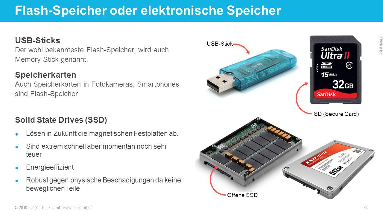 Flash-Speicher oder elektronische Speicher © 2010-2015 - Think a bit - www.thinkabit.ch 34 USB-Sticks Der wohl bekannteste Flash-Speicher, wird auch Memory-Stick genannt.