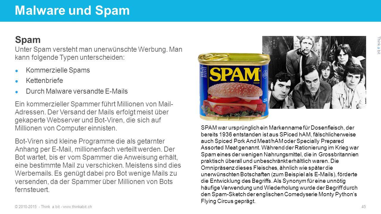 Malware und Spam Spam Unter Spam versteht man unerwünschte Werbung. Man kann folgende Typen unterscheiden: ● Kommerzielle Spams ● Kettenbriefe ● Durch