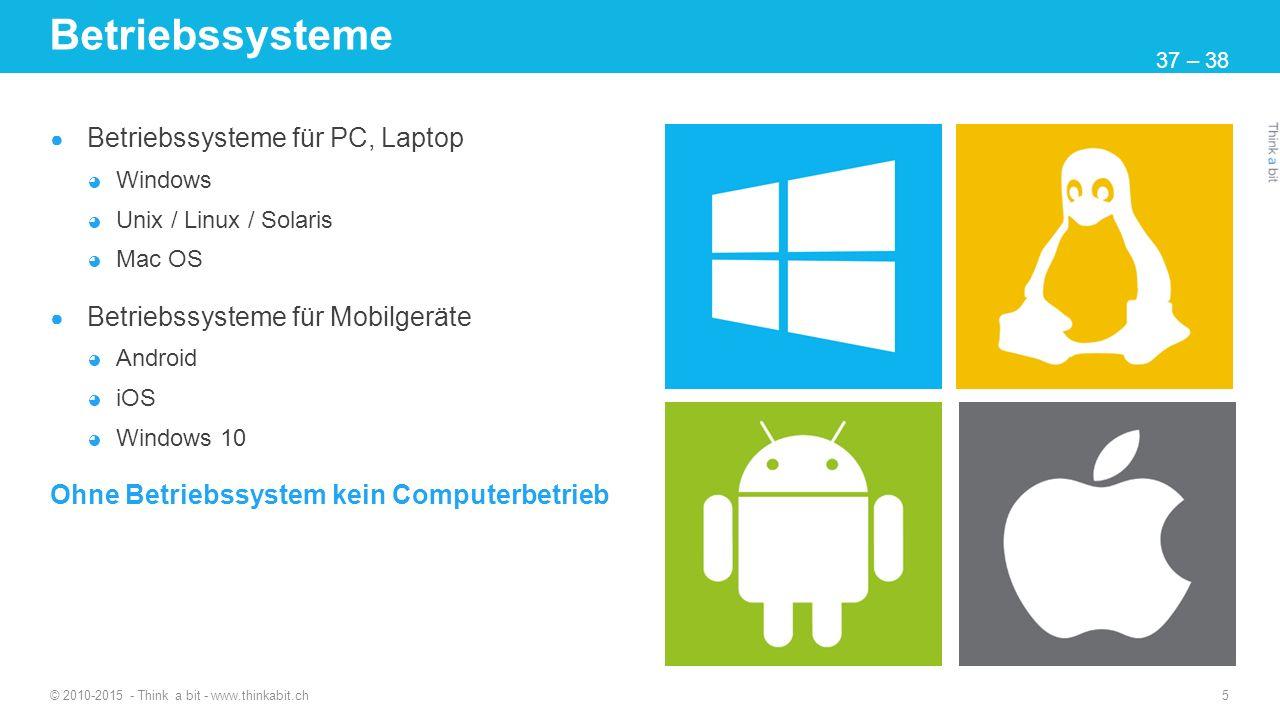 Betriebssysteme ● Betriebssysteme für PC, Laptop ◕ Windows ◕ Unix / Linux / Solaris ◕ Mac OS ● Betriebssysteme für Mobilgeräte ◕ Android ◕ iOS ◕ Windo