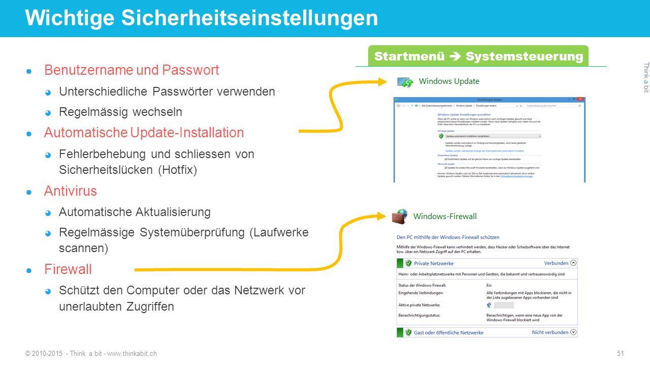 Wichtige Sicherheitseinstellungen ● Benutzername und Passwort ◕ Unterschiedliche Passwörter verwenden ◕ Regelmässig wechseln ● Automatische Update-Ins