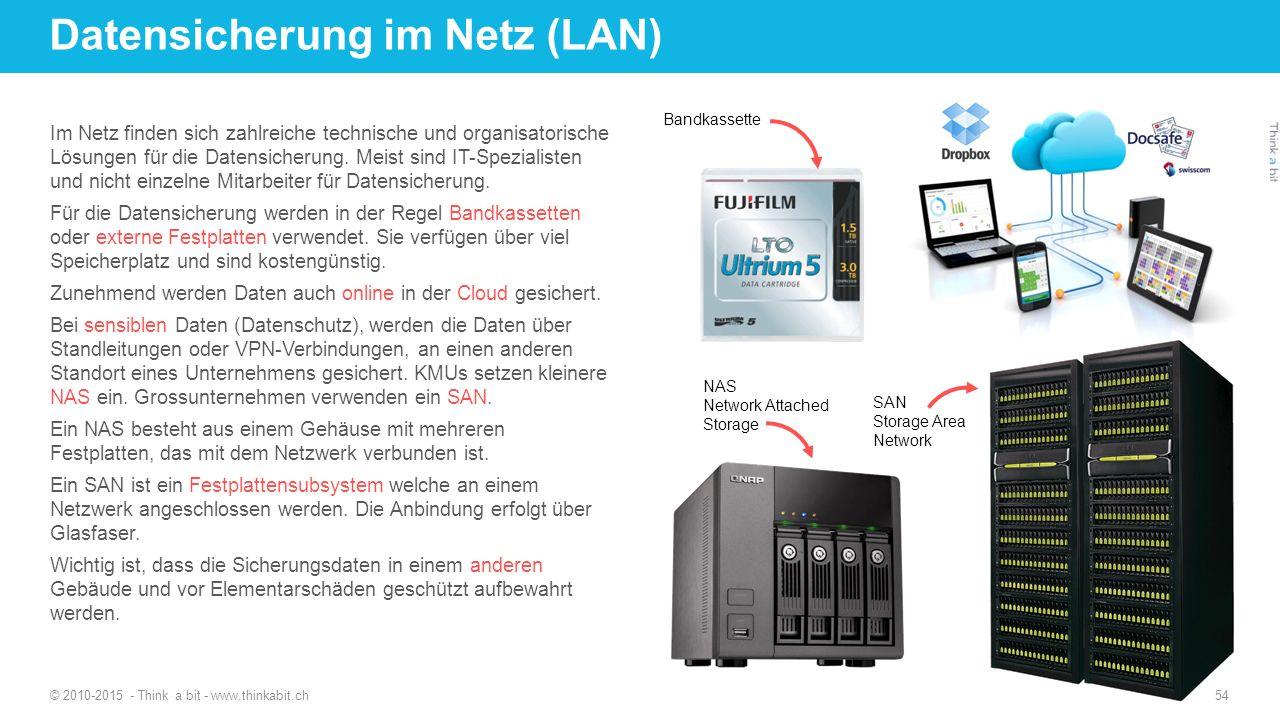 Datensicherung im Netz (LAN) Im Netz finden sich zahlreiche technische und organisatorische Lösungen für die Datensicherung.