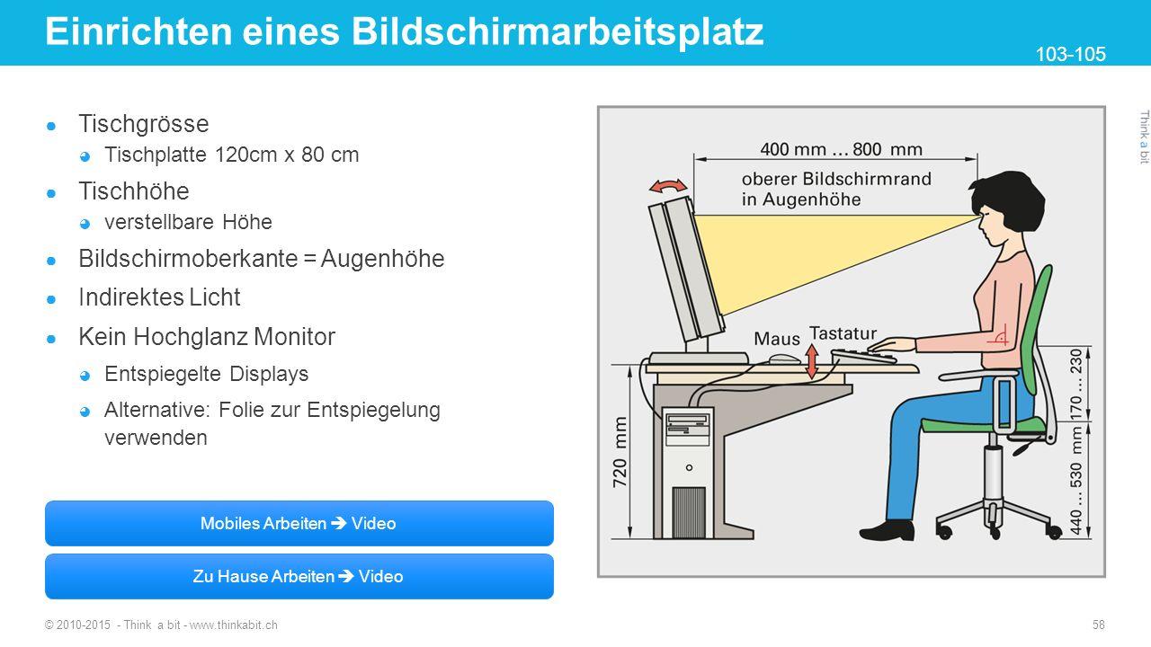Einrichten eines Bildschirmarbeitsplatz ● Tischgrösse ◕ Tischplatte 120cm x 80 cm ● Tischhöhe ◕ verstellbare Höhe ● Bildschirmoberkante = Augenhöhe ●