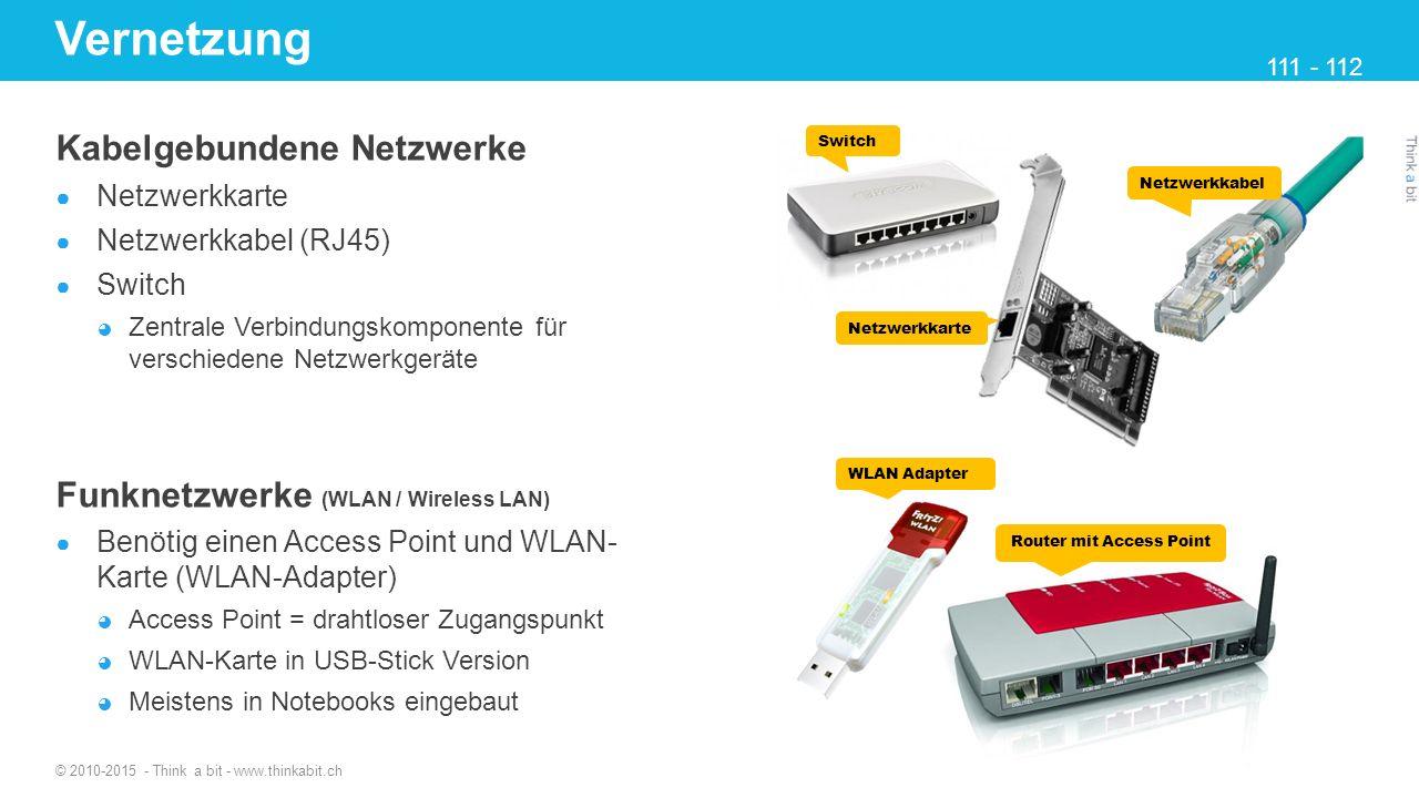 Vernetzung Kabelgebundene Netzwerke ● Netzwerkkarte ● Netzwerkkabel (RJ45) ● Switch ◕ Zentrale Verbindungskomponente für verschiedene Netzwerkgeräte F