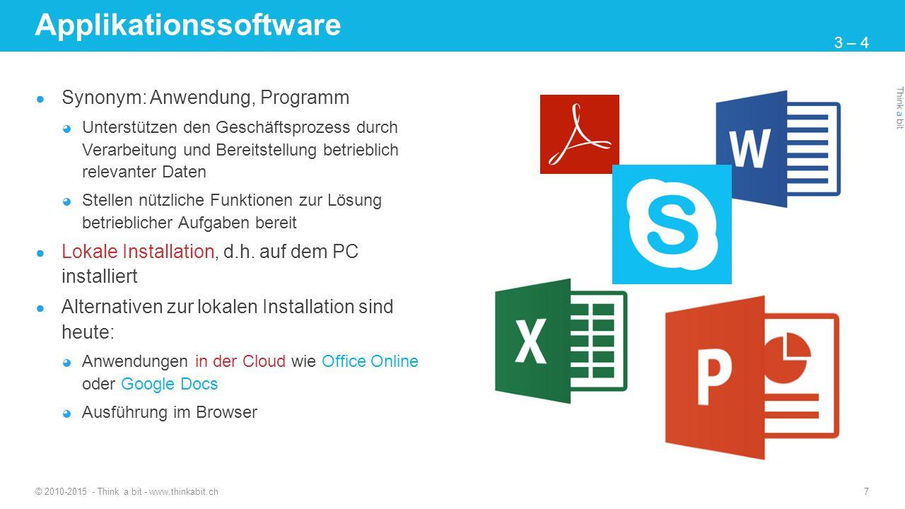 Applikationssoftware ● Synonym: Anwendung, Programm ◕ Unterstützen den Geschäftsprozess durch Verarbeitung und Bereitstellung betrieblich relevanter D