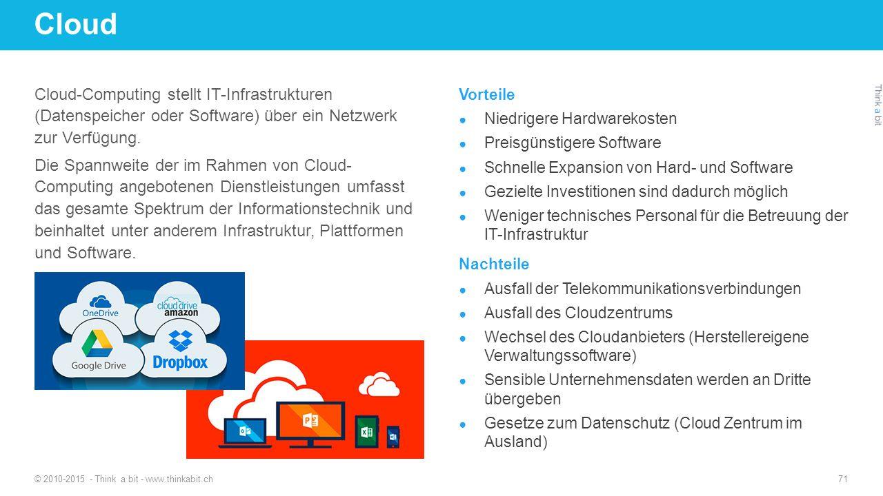 Cloud Cloud-Computing stellt IT-Infrastrukturen (Datenspeicher oder Software) über ein Netzwerk zur Verfügung. Die Spannweite der im Rahmen von Cloud-