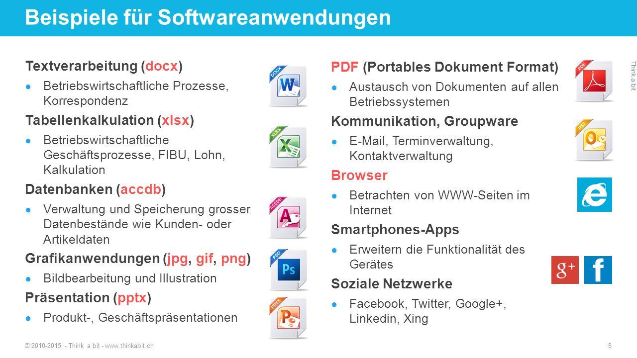 Beispiele für Softwareanwendungen Textverarbeitung (docx) ● Betriebswirtschaftliche Prozesse, Korrespondenz Tabellenkalkulation (xlsx) ● Betriebswirts