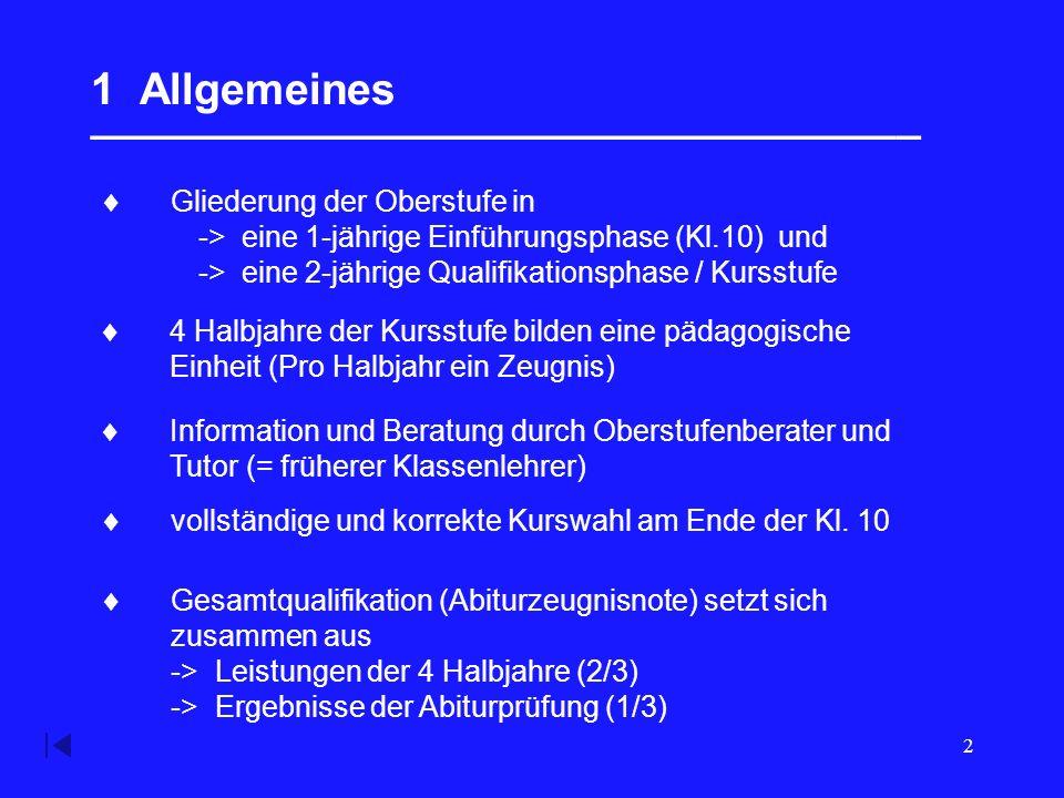 2 1 Allgemeines __________________________________  Gliederung der Oberstufe in -> eine 1-jährige Einführungsphase (Kl.10) und -> eine 2-jährige Qualifikationsphase / Kursstufe  4 Halbjahre der Kursstufe bilden eine pädagogische Einheit (Pro Halbjahr ein Zeugnis)  Information und Beratung durch Oberstufenberater und Tutor (= früherer Klassenlehrer)  vollständige und korrekte Kurswahl am Ende der Kl.