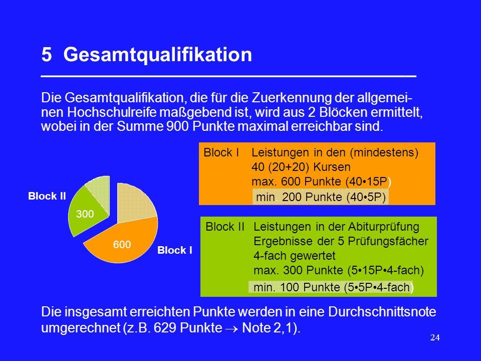 24 5 Gesamtqualifikation __________________________________ Die Gesamtqualifikation, die für die Zuerkennung der allgemei- nen Hochschulreife maßgebend ist, wird aus 2 Blöcken ermittelt, wobei in der Summe 900 Punkte maximal erreichbar sind.