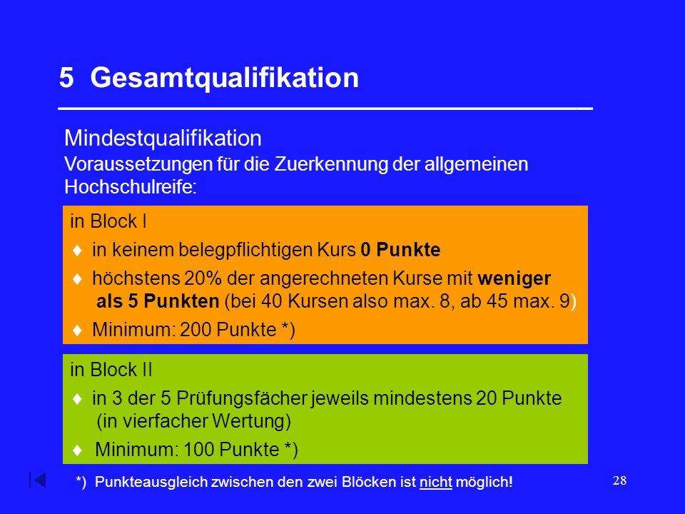 28 5 Gesamtqualifikation __________________________________ Mindestqualifikation in Block II in Block I Voraussetzungen für die Zuerkennung der allgemeinen Hochschulreife:  in keinem belegpflichtigen Kurs 0 Punkte  höchstens 20% der angerechneten Kurse mit weniger als 5 Punkten (bei 40 Kursen also max.
