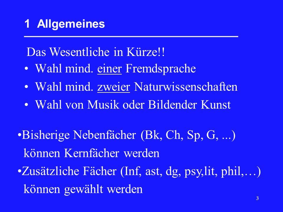 4 2 Fächer und Kurse __________________________________ Einteilung der Fächer der Kursstufe in drei Aufgabenfelder sowie in einen Pflicht- und einen Wahlbereich: AufgabenfeldPflichtbereichWahlbereich I sprachlich-literarisch- künstlerisch Deutsch Fremdsprachen (ab Kl.