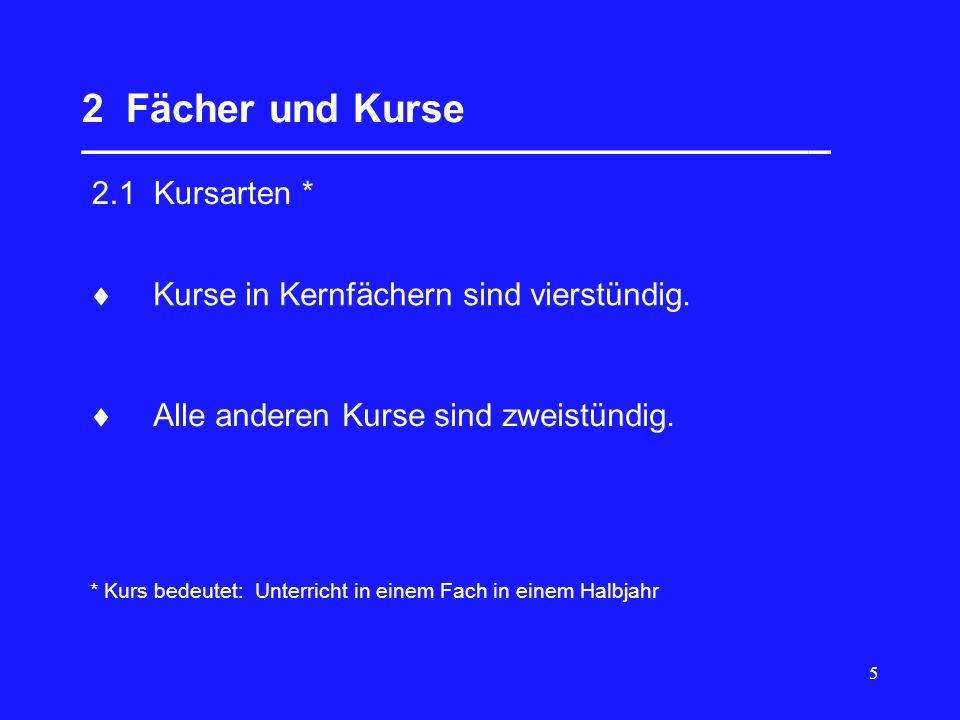 6 2 Fächer und Kurse __________________________________ 2.2 Kernfächer Deutsch Mathematik eine Fremdsprache eine weitere Fremdsprache oder Naturwissenschaft (Bio, Ch, Phy) ein beliebiges weiteres Fach des Pflichtbereichs (Bk,Mu,FS,NW,Sp,Wi,G,Gk,Geo,Rel,Eth) In den 4 Halbjahren der Kursstufe müssen im Umfang von je 4 Wochenstunden 5 Kernfächer (20Kurse) belegt werden: