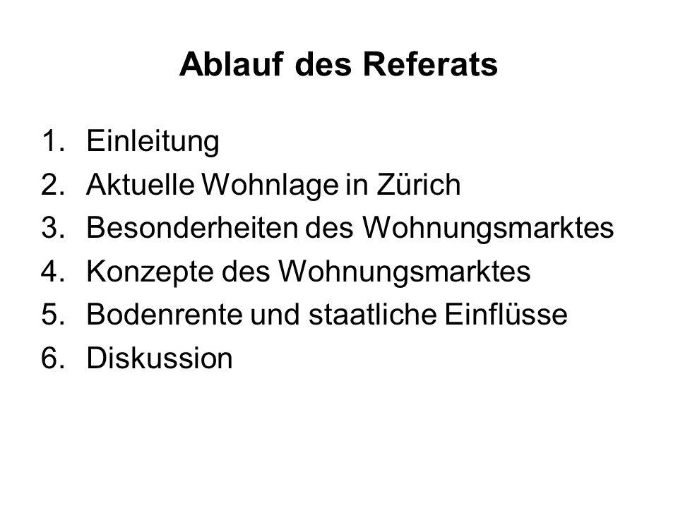 Ablauf des Referats 1.Einleitung 2.Aktuelle Wohnlage in Zürich 3.Besonderheiten des Wohnungsmarktes 4.Konzepte des Wohnungsmarktes 5.Bodenrente und st