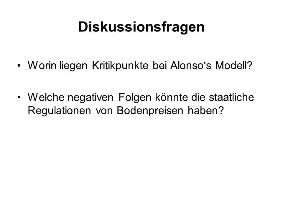 Diskussionsfragen Worin liegen Kritikpunkte bei Alonso's Modell? Welche negativen Folgen könnte die staatliche Regulationen von Bodenpreisen haben?