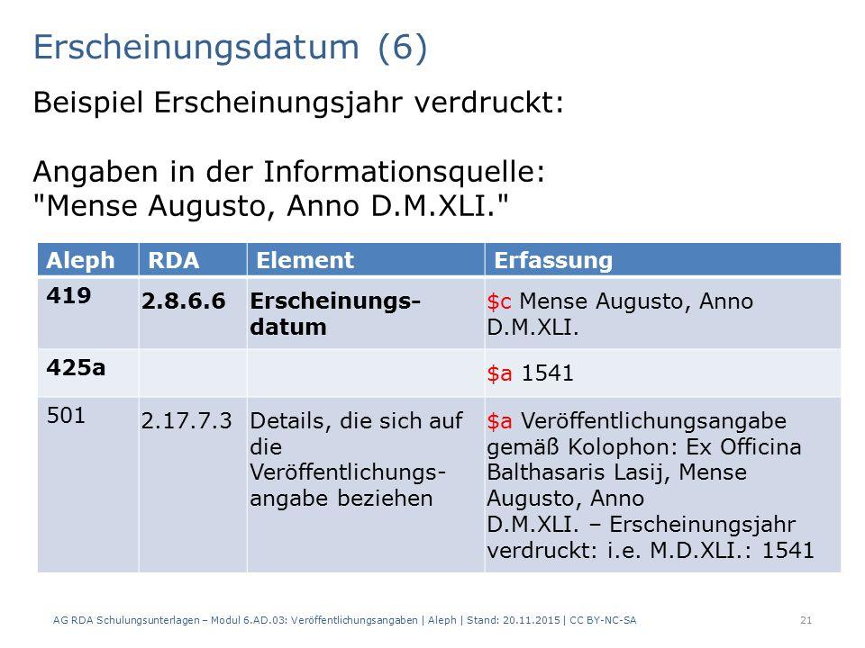 Erscheinungsdatum (6) AG RDA Schulungsunterlagen – Modul 6.AD.03: Veröffentlichungsangaben | Aleph | Stand: 20.11.2015 | CC BY-NC-SA 21 Beispiel Erscheinungsjahr verdruckt: Angaben in der Informationsquelle: Mense Augusto, Anno D.M.XLI. AlephRDAElementErfassung 419 2.8.6.6Erscheinungs- datum $c Mense Augusto, Anno D.M.XLI.