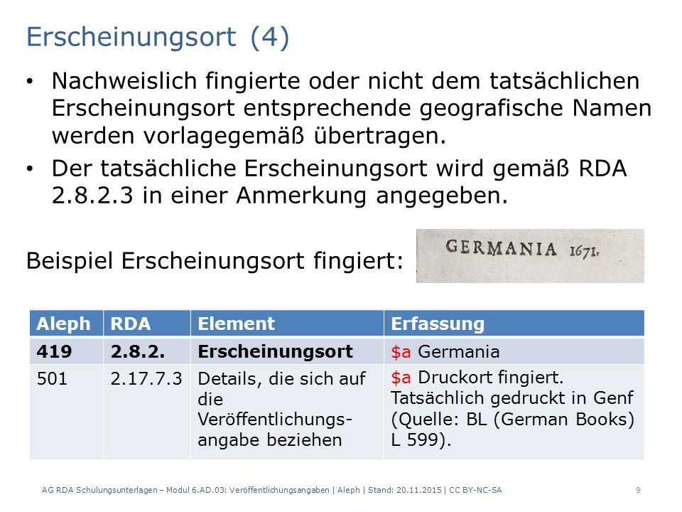 Erscheinungsort (4) AG RDA Schulungsunterlagen – Modul 6.AD.03: Veröffentlichungsangaben | Aleph | Stand: 20.11.2015 | CC BY-NC-SA 9 Nachweislich fingierte oder nicht dem tatsächlichen Erscheinungsort entsprechende geografische Namen werden vorlagegemäß übertragen.