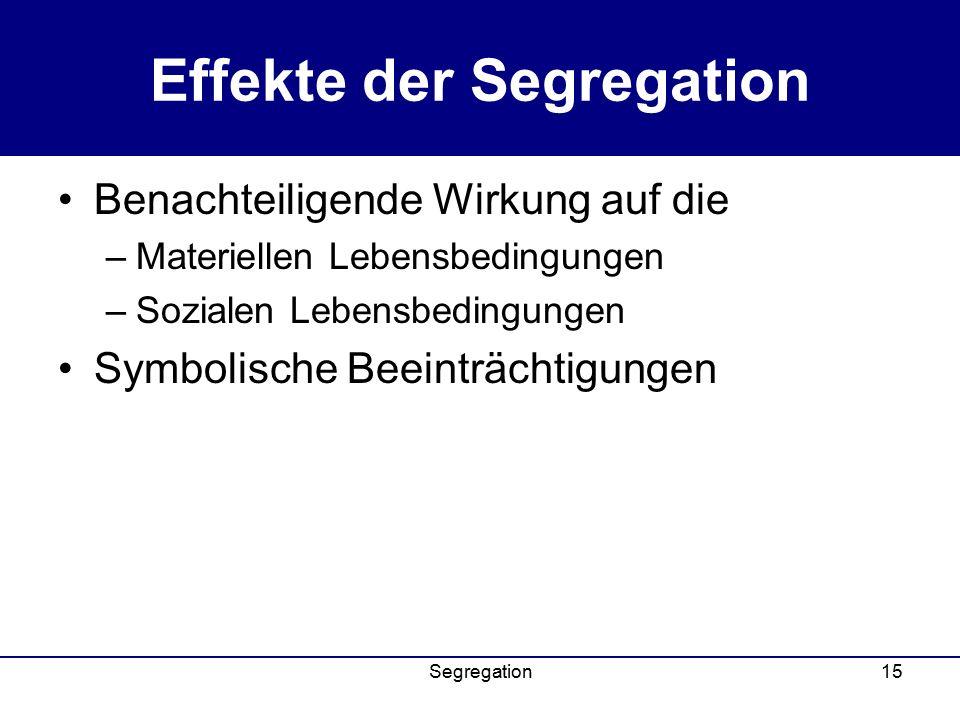 Segregation15 Effekte der Segregation Benachteiligende Wirkung auf die –Materiellen Lebensbedingungen –Sozialen Lebensbedingungen Symbolische Beeinträchtigungen