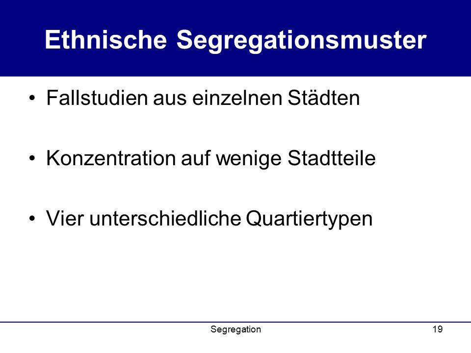 Segregation19 Ethnische Segregationsmuster Fallstudien aus einzelnen Städten Konzentration auf wenige Stadtteile Vier unterschiedliche Quartiertypen