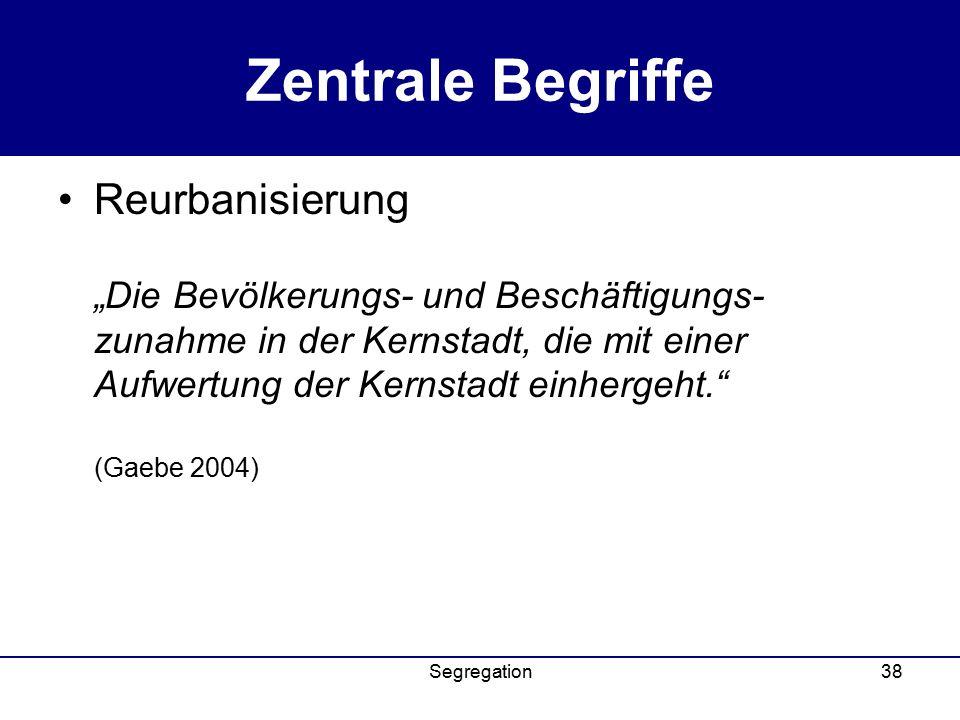 """Segregation38 Zentrale Begriffe Reurbanisierung """"Die Bevölkerungs- und Beschäftigungs- zunahme in der Kernstadt, die mit einer Aufwertung der Kernstadt einhergeht. (Gaebe 2004)"""