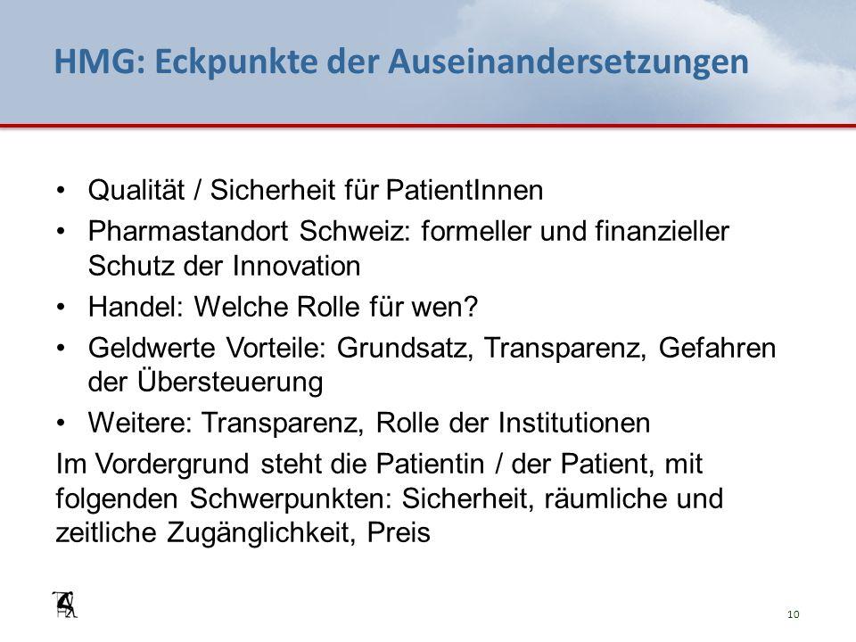 HMG: Eckpunkte der Auseinandersetzungen Qualität / Sicherheit für PatientInnen Pharmastandort Schweiz: formeller und finanzieller Schutz der Innovation Handel: Welche Rolle für wen.