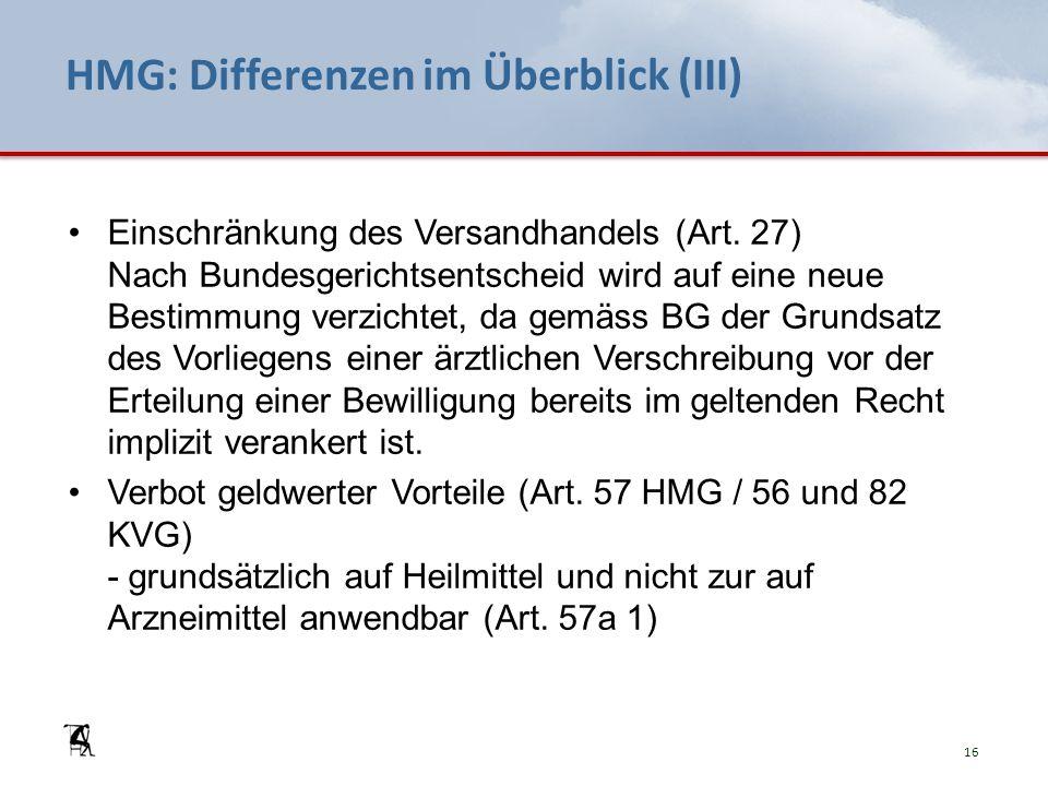 HMG: Differenzen im Überblick (III) Einschränkung des Versandhandels (Art.