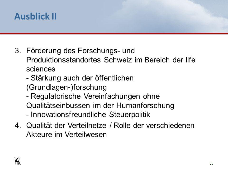 Ausblick II 3.Förderung des Forschungs- und Produktionsstandortes Schweiz im Bereich der life sciences - Stärkung auch der öffentlichen (Grundlagen-)forschung - Regulatorische Vereinfachungen ohne Qualitätseinbussen im der Humanforschung - Innovationsfreundliche Steuerpolitik 4.Qualität der Verteilnetze / Rolle der verschiedenen Akteure im Verteilwesen 21