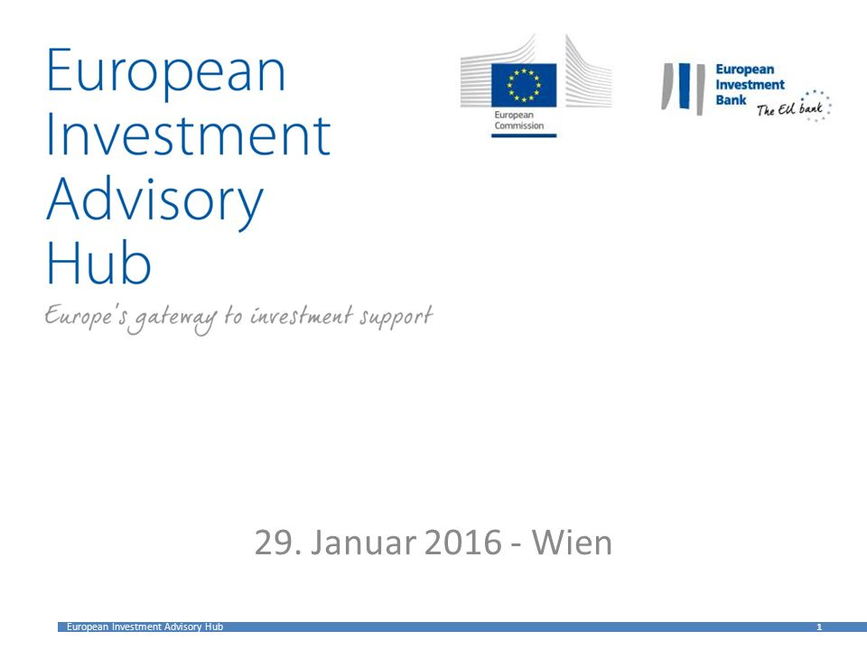 European Investment Advisory Hub 1 1 29. Januar 2016 - Wien