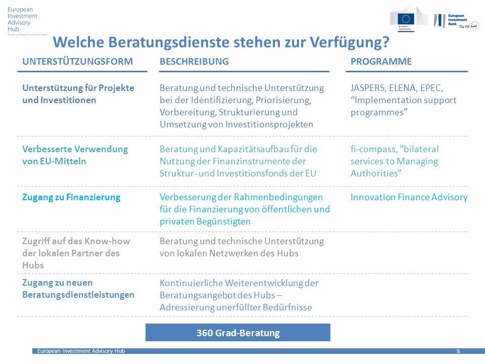 """European Investment Advisory Hub 5 5 Welche Beratungsdienste stehen zur Verfügung? JASPERS, ELENA, EPEC, """"Implementation support programmes"""" Verbesser"""