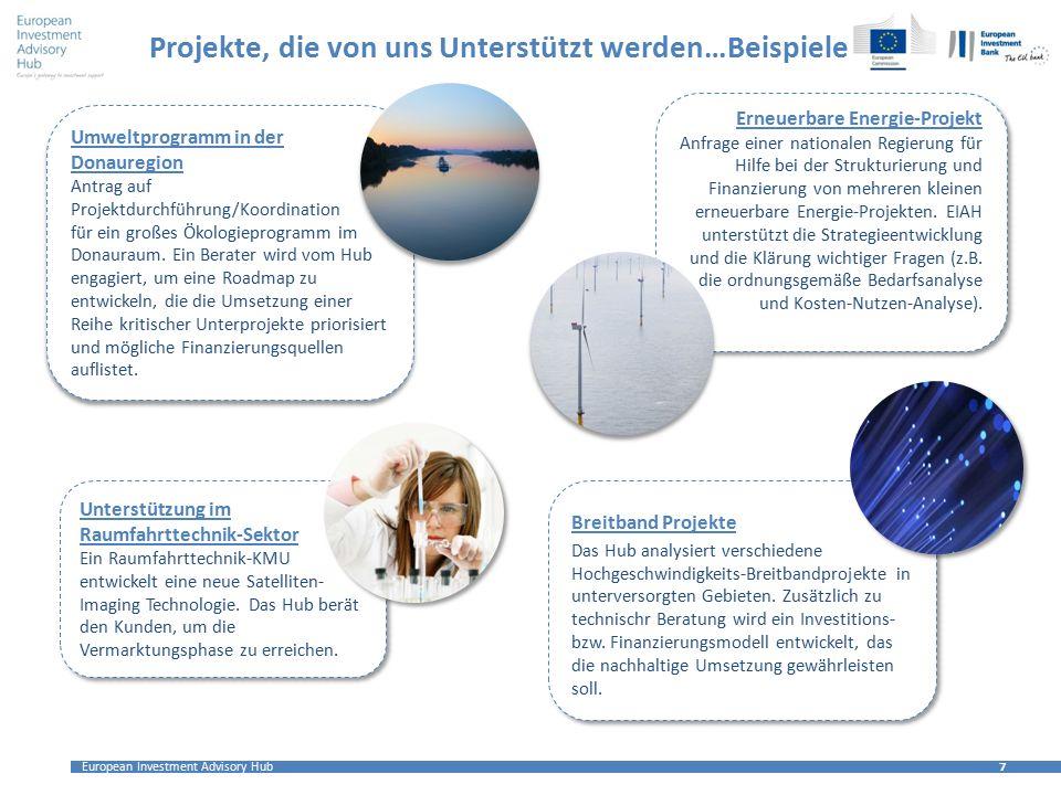 European Investment Advisory Hub 7 7 Projekte, die von uns Unterstützt werden…Beispiele Erneuerbare Energie-Projekt Anfrage einer nationalen Regierung für Hilfe bei der Strukturierung und Finanzierung von mehreren kleinen erneuerbare Energie-Projekten.