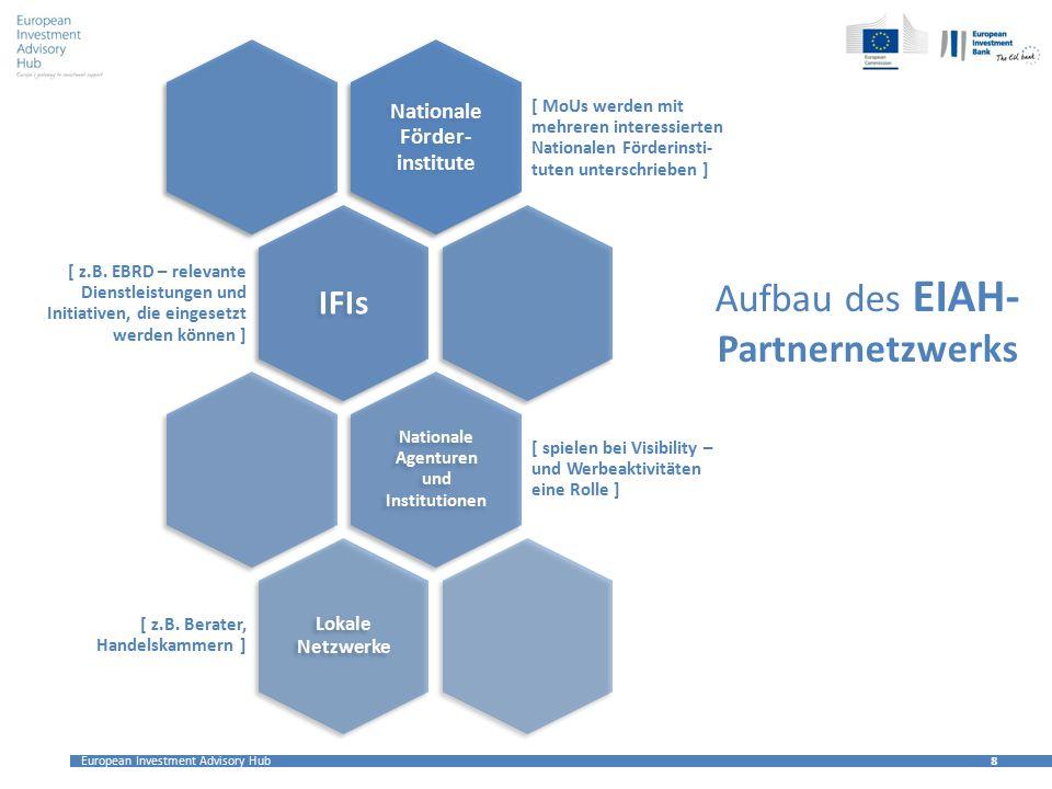 European Investment Advisory Hub 8 8 Aufbau des EIAH- Partnernetzwerks Nationale Förder- institute [ MoUs werden mit mehreren interessierten Nationalen Förderinsti- tuten unterschrieben ] IFIs [ z.B.