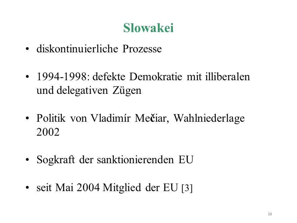10 Slowakei diskontinuierliche Prozesse 1994-1998: defekte Demokratie mit illiberalen und delegativen Zügen Politik von Vladimír Mečiar, Wahlniederlag