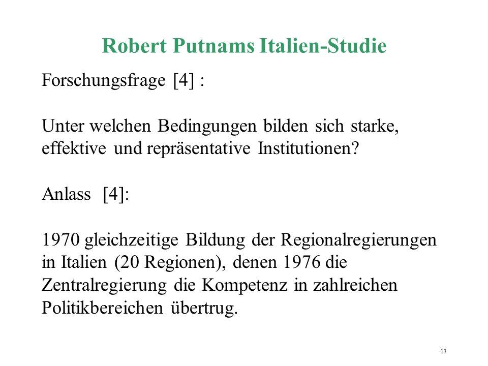 13 Robert Putnams Italien-Studie Forschungsfrage [4] : Unter welchen Bedingungen bilden sich starke, effektive und repräsentative Institutionen? Anlas