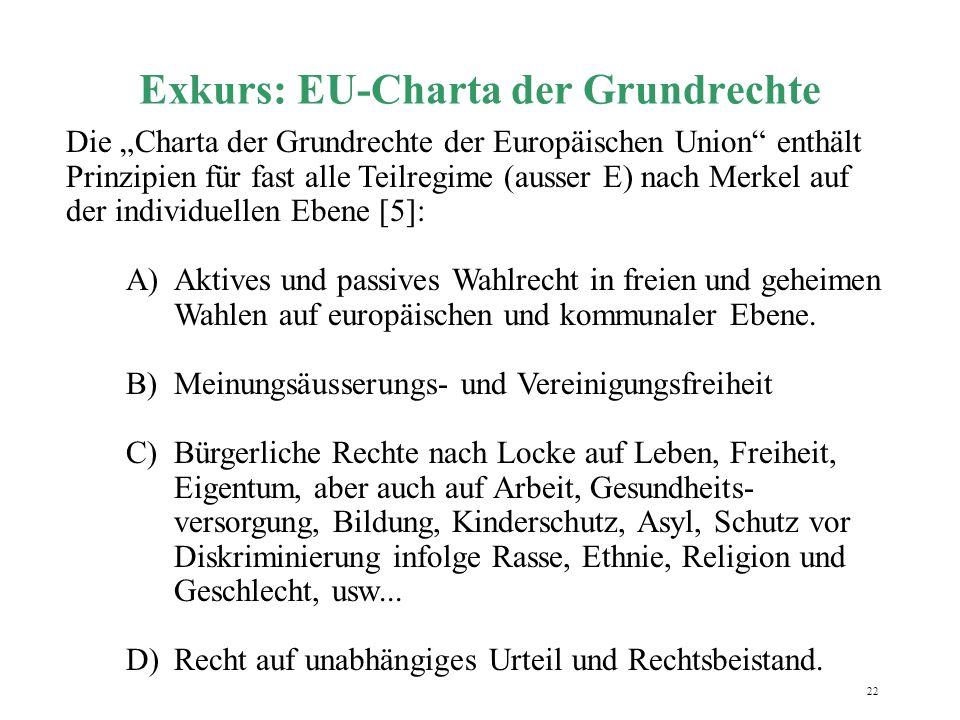 """22 Exkurs: EU-Charta der Grundrechte Die """"Charta der Grundrechte der Europäischen Union"""" enthält Prinzipien für fast alle Teilregime (ausser E) nach M"""