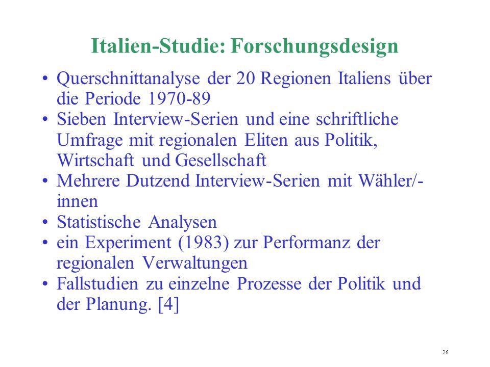 26 Italien-Studie: Forschungsdesign Querschnittanalyse der 20 Regionen Italiens über die Periode 1970-89 Sieben Interview-Serien und eine schriftliche