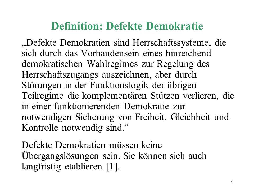 4 Formen der defekten Demokratie Exklusive Demokratie  universelles Wahlrecht ist nicht gegeben Illiberale Demokratie  Beschädigungen am Rechtsstaat Delegative Demokratie  Kontrolle der Exekutive ist durch Legislative und dritte Gewalt eingeschränkt Enklavendemokratie  verzerrte Machtbildung durch Vetomächte [1],[2].