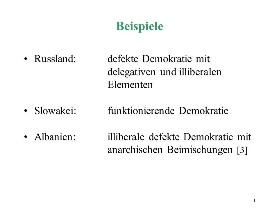 8 Beispiele Russland:defekte Demokratie mit delegativen und illiberalen Elementen Slowakei:funktionierende Demokratie Albanien:illiberale defekte Demo