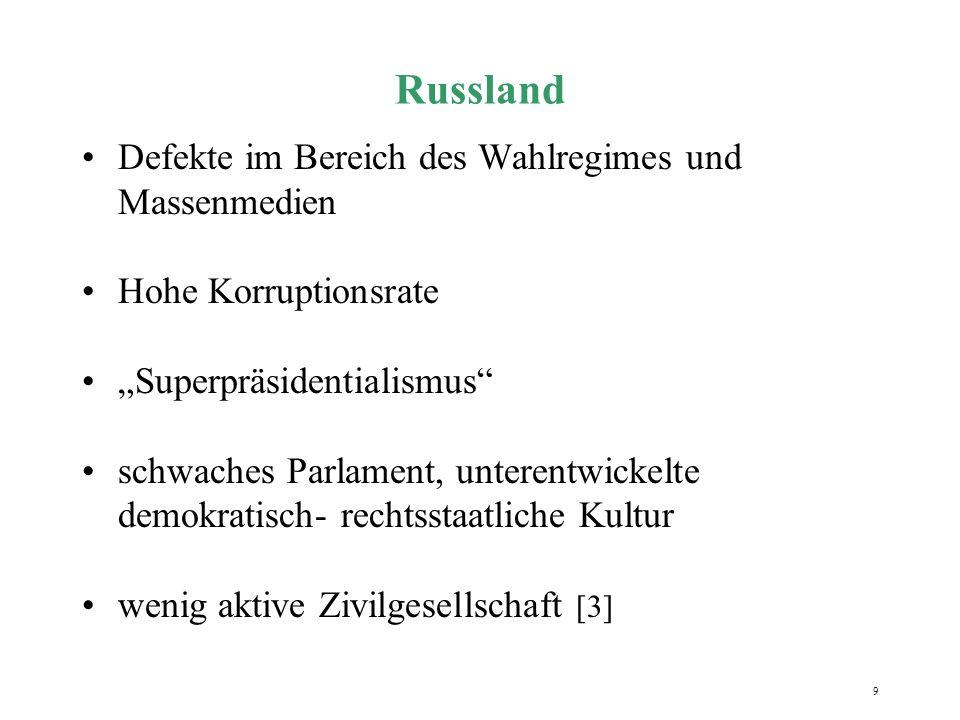 10 Slowakei diskontinuierliche Prozesse 1994-1998: defekte Demokratie mit illiberalen und delegativen Zügen Politik von Vladimír Mečiar, Wahlniederlage 2002 Sogkraft der sanktionierenden EU seit Mai 2004 Mitglied der EU [3]