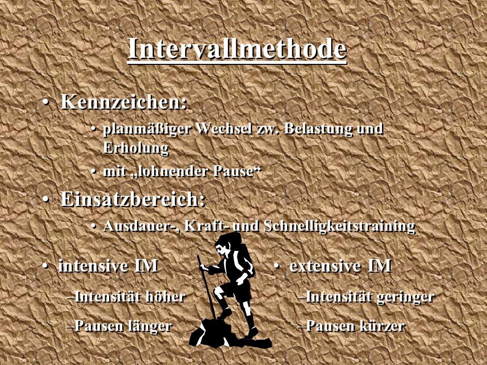 """Intervallmethode Kennzeichen: planmäßiger Wechsel zw. Belastung und Erholung mit """"lohnender Pause"""" Einsatzbereich: Ausdauer-, Kraft- und Schnelligkeit"""