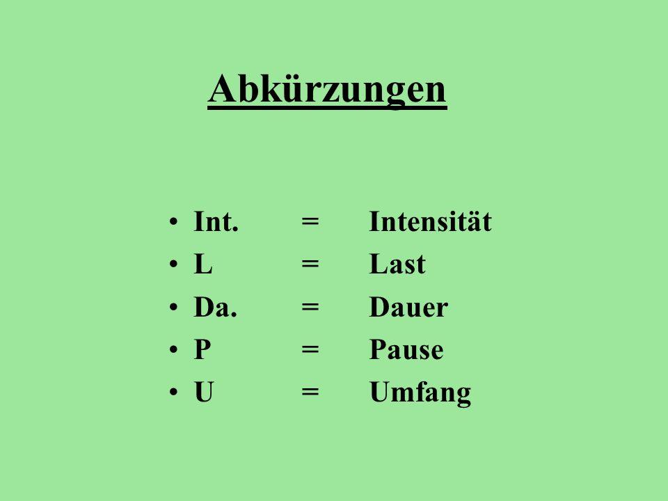 Abkürzungen Int.= Intensität L= Last Da.= Dauer P= Pause U= Umfang
