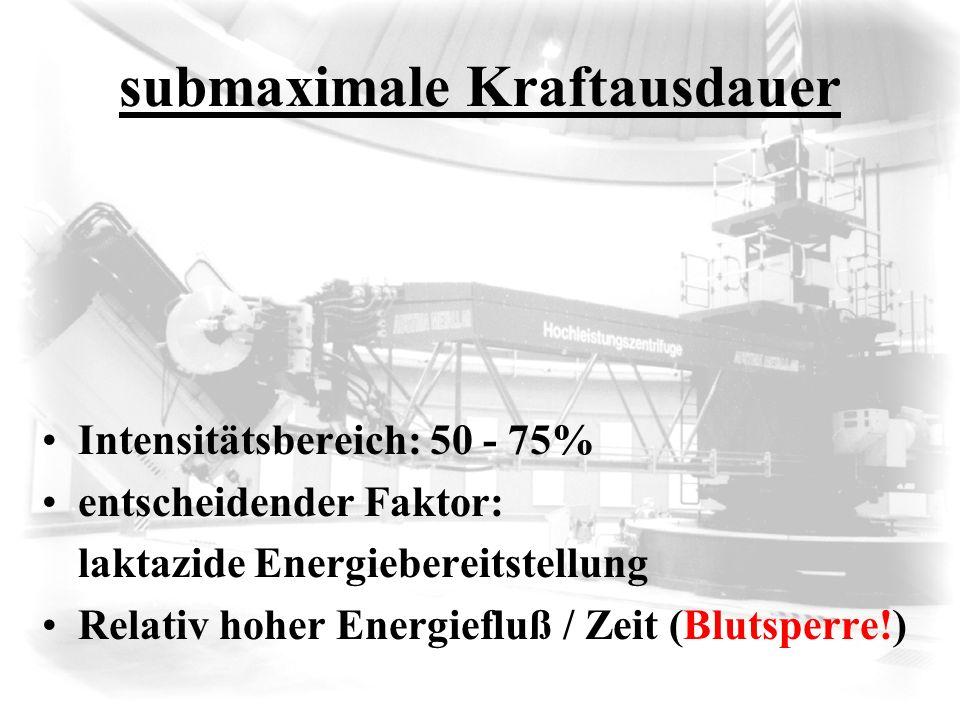 submaximale Kraftausdauer Intensitätsbereich: 50 - 75% entscheidender Faktor: laktazide Energiebereitstellung Relativ hoher Energiefluß / Zeit (Blutsp